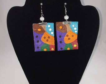 Multi-color: green, purple, red, blue, orange, tan, white, brown hand painted fabric earrings with glass beads