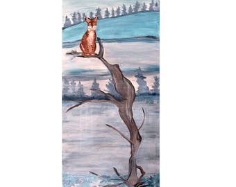 Winter Bobcat Lynx Look Out in the Snow Print/Reproduction
