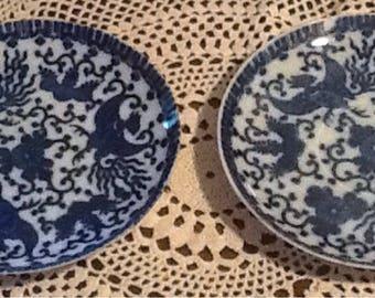 Vintage, Phoenix Bird, Flying Phoenix, Flying Turkey, Porcelain, Japan, 2  saucers, blue transfer ware, cottage