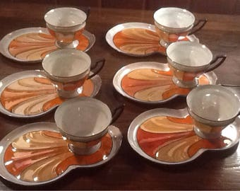 Gorgeous, P.A.L.T, Czecho- Slavakia, 6 Luster ware snack sets, orange, peach, black and creamy white