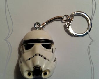 """Polymer clay """"Black and white Stormtrooper"""" keychain"""