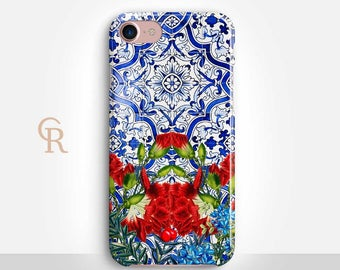 Floral Tile Phone Case Case For iPhone 8 iPhone 8 Plus - iPhone X - iPhone 7 Plus - iPhone 6 - iPhone 6S - iPhone SE - Samsung S8 iPhone 5