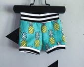 Pineapple and stripes shorts, pineapple shorts, pineapple shorties, pineapple baby shorts, pineapple baby pants, girl pineapple shorts
