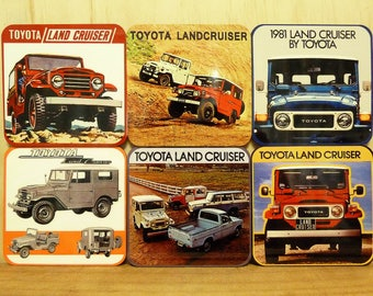 Set of 6 coasters - 95mm Square MDF - Toyota Land Cruiser
