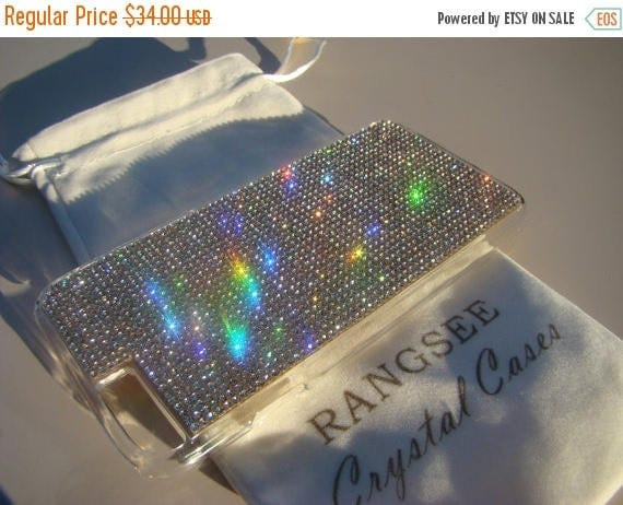 """Sale iPhone 6 / 6s Case Clear Rhinstone Crystals on iPhone 6 / 6s Transparent Clear Case. """" Gold Edition"""" , Genuine Rangsee Crystal Cases."""
