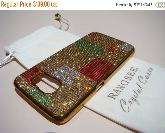 Sale Samsung Galaxy S6. Abstract Art Design Case . 4 Colors of Rhinestone Crystals on Gold Chrome  Case. Genuine Rangsee Crystal Cases.