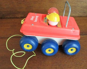 Vintage 1973 Fisher Price Bouncing Buggy Pull Toy