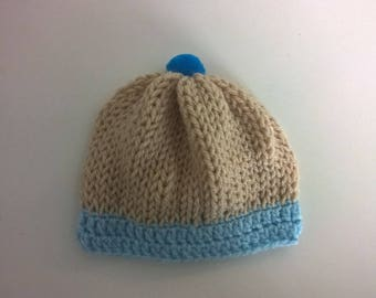 Baby boy hat, 0/1 month Beige and blue baby - knitted wool handmade