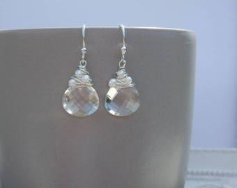 Bridal Earrings, Rock Crystal Earrings, Gemstone Earrings, Crystal Earrings, Summer Earrings, Wire wrapped Earrings, Silver Earrings
