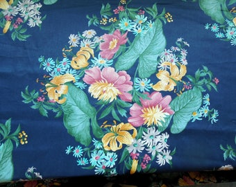 """Vintage Fabric Floral Cotton Large Flowers Lily Pads Royal Blue Pink Yellow Purple Screen Print BTY 56"""" Seamstress Designer Trade Home 1988"""