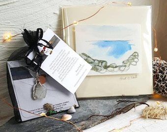 Christmas Gift Set - Personalised Seaglass Necklace and Hand Painted Greeting Card