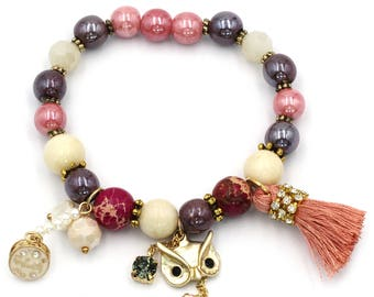 Colorful bead golden fox bracelet