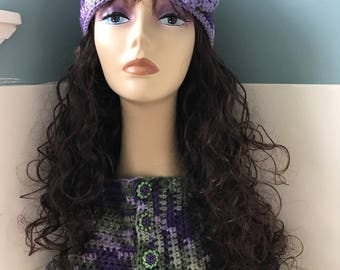 Crocheted Beanie with Flower/Matching Cowl