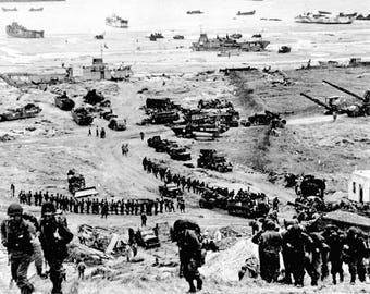 Poster, Many Sizes Available; Omaha Beach Reinforcements Of Men And Equipment Moving Inland