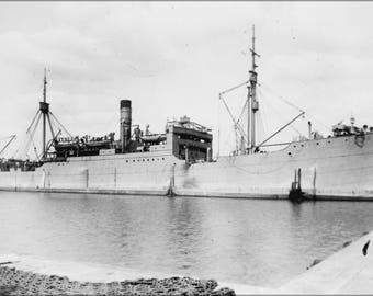 Poster, Many Sizes Available; Houston Ak1 , Formerly Liebenfels. Cargo Ship. Starboard Bow, At Wharf, 06 27 1918 Nara 535434