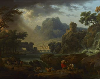 Poster, Many Sizes Available; A Mountain Landscape With An Approaching Storm By Claude Joseph Vernet