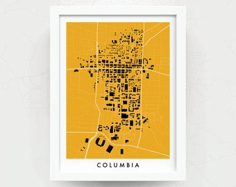 COLUMBIA MISSOURI Map Print - Home Decor - Office Decor - Columbia Artwork - Poster - Wall Art - Mizzou Gift - University of Missouri Gift
