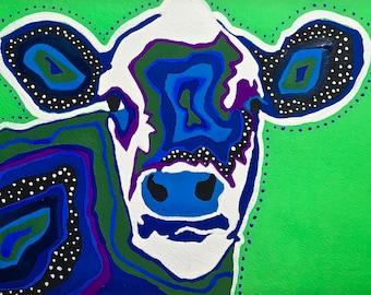 BlueGreen Cow Gouache Painting, BlueGreen Cow Portrait, BlueGreen Cow Painting, Cow Painting, Cow Wall Art, Farm Animal Painting, Cow Art