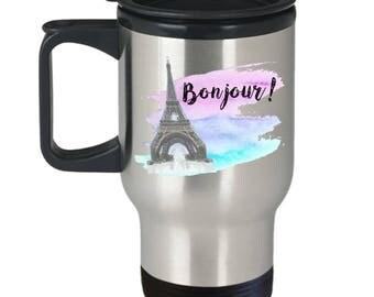 Bonjour French Travel Mug, French Inspired Coffee Mug, Pretty Travel Mug