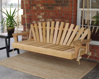 Brand New 4 Foot Cedar Wood Sunrise Porch Swing with Hanging Rope - Free Shipping