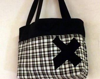 """Billbag"" black and Plaid tote bag"