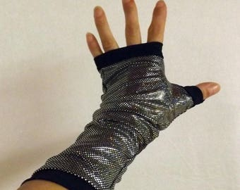 "Fingerless gloves long ""Manolo"" silver and black Lycra"