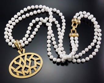 Vintage 1950s Enamel Pendant Necklace White Lucite Beads Estate Jewelry