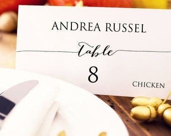 Wedding Place Card With Meal Choice Template, Editable Meal Option Place Card, Custom Personalized Seating Card, Wedding Printable