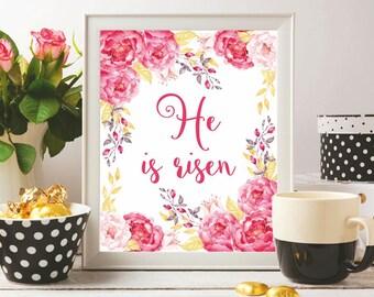 Easter printable Easter artwork He is risen print Easter wall art Easter art print Easter art printable Easter sign Matthew 28:6 Easter gift