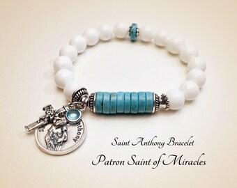 Saint Anthony Bracelet.  Saint of Help Bracelet. Coral Bracelet. Blue Howlite Bracelet. Zodiac Bracelet. Catholic Bracelet #HP13