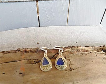 Sterling Silver Cobalt Blue Sea Glass