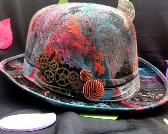 Psychedelic painted to hand/psychedelic hand painted bowler hat bowler