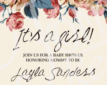 Antique Rose Baby Shower invitation