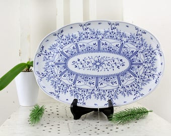 Original Tirschenreuth serving plate Germany T32 Vintage porcelain Mid Century table decoration pastry bowl Onion pattern blue white