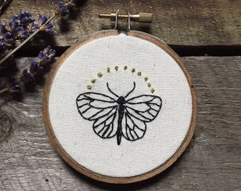 Small 3 Inch Moth Embroidery