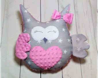 Owl Pillow, Owl Shaped Cushion, Minky, Nursery Owl Decor, Kids Pillow, Nursery Decor,Kids Room Decor,Toddlers Cushion,Made to Order