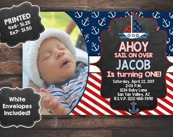Sailor Invitation, Nautical Invitation, Ahoy Birthday Invitation, PRINTED