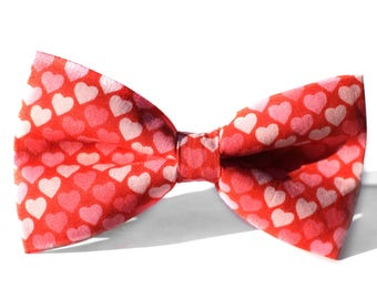 Hearts Bow Tie, Valentines Bow Tie, Boys Bow Tie, Bow Tie for Wedding, Dog Bow Tie, Mens Bow Tie, Formal Bow Tie, Bow Tie Dog, For Him