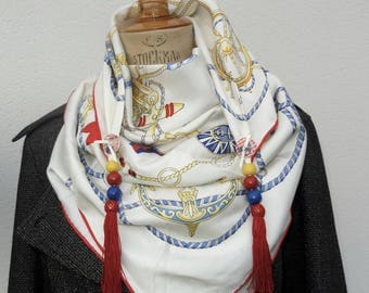 "Large silk scarf ""Get the anchor"" customized with 2 snaps, beads of wood and tassel"