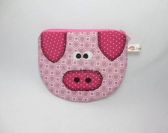 Pink pig Patchwork purse