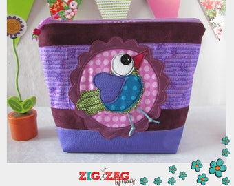 "Maxi-Trousse (toilet, coats, clothes, pharmacy small) ""Cheep purple"" (H22 x x L28 base 18 x 10 cm)"