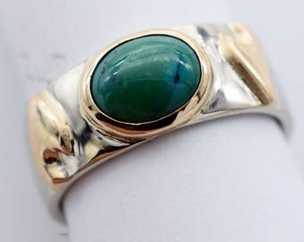 Green Turquoise Oval with wave design in yellow gold on white gold wedding band, 14k or 18k