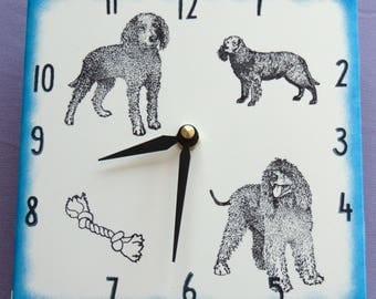 "Ceramic tile American Water Spaniel dog clock, 6"" square, blue border"