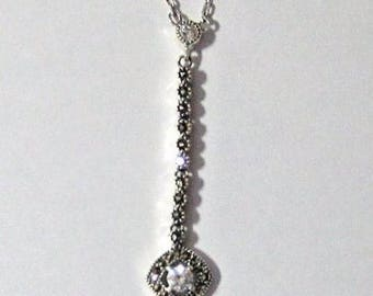 judith jack sterling silver, marcasite, Swaroski crystal pencil necklace