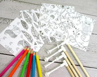 Coloring Paper Pinwheels DIY Kit Pinwheel Paper Party Favors Adult Coloring Kit Spinning Pinwheels Party Decoration Table Centerpiece Kit