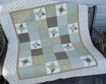 Modern Rustic Country Home, Neutral Patchwork Star Quilt, Small Sofa Throw Blanket, Handmade Lap Quilt, Green, Beige, Wedding Gift for Home