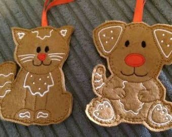 Gingerbread  Dog or Cat Christmas Tree Decoration
