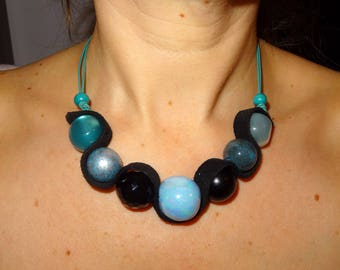 Necklace Céleste Bleu and Black ceramic and leather