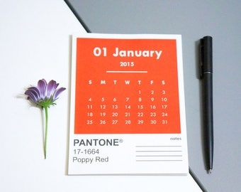 2018 Pantone Desk Calendar Pad • 12 Months with Notes • Personalized • Handmade