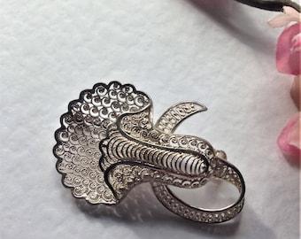 Vintage Sterling Silver Brooch, Filigree Brooch, Orchid Brooch, Flower Brooch, Circa 1960, Vintage Gift